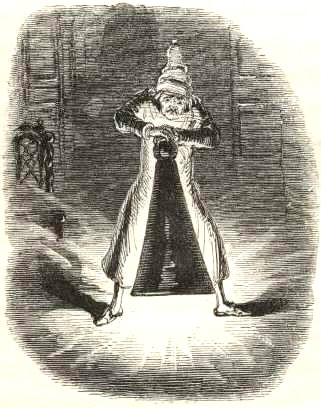 Illustration of Scrooge Extinguishing the First of the Three Spirits