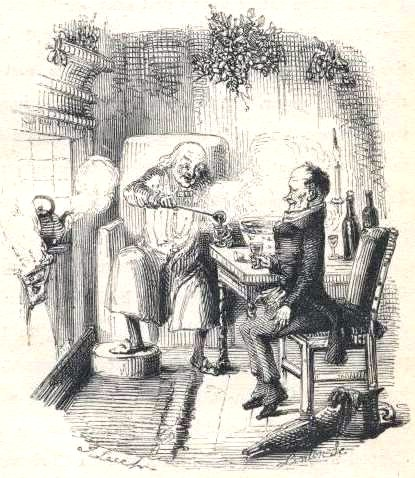 Illustration of Scrooge and Bob Cratchit